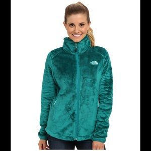 North Face teal Osito furry jacket